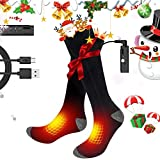 Aqziill Battery Operated Socks USB Heated Socks -Electric Battery Cotton Socks Get Whole Toes Warm-Rechargeable Thermal Socks Breathable Foot Warmer for Skiing Hunting Camping Riding Motocycle