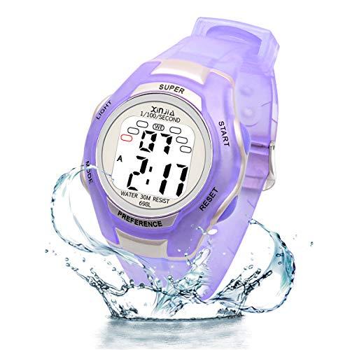 Jungen Digitaluhren, Mädchen Uhr Kinderehr Jungenuhr Wasserdicht Sportuhren Digital Armbanduhr mit LED-Licht Wecker/Stoppuhr, Datum & Woche Kalender für Sport Outdoor (Lila)