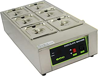 NEWTRY Digital 26.46lbs Capacity 6 Pots Electric Chocolate Melting Machine Temperature Adjustable 1000W Commercial Chocolate Tempering Machine Melter Pot Heater (110V)