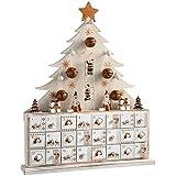 WeRChristmas–Árbol de Madera Calendario de adviento de Navidad, Natural, Beige, 40cm