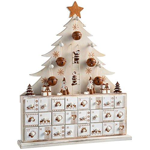 WeRChristmas–Calendario dell'Avvento in legno, decorazione natalizia a forma di albero di Natale, Legno, Beige, 32 x 6.5 x 40 cm