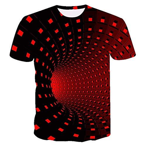 UNIFACO Men Women Unisex 3D Red Vortex Printed T-Shirt Casual Graphic Short Sleeve Round Neck Tops Tees S-XXL