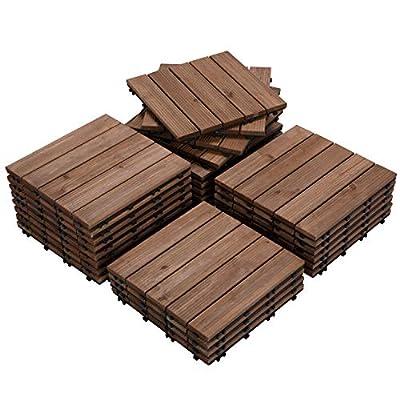 "Yaheetech 27PCS Indoor Interlocking Wood Flooring Deck Decking Tiles Patio Pavers Tiles Solid Wood and Plastic Corner Edging Trim Tiles Outdoor 12 x 12"""