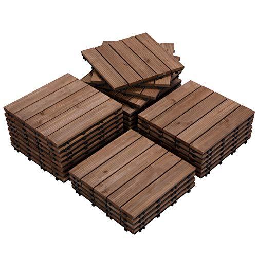 """Yaheetech Brown Patio Deck Tiles Interlocking Deck Tiles 12 x 12"""" Wood Floor Tiles Outdoor Flooring for Patio Garden Deck Poolside 27PCS"""