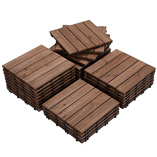 Yaheetech 27PCS Indoor Interlocking Wood Flooring Deck Decking Tiles Patio Pavers Tiles Solid Wood and Plastic Corner Edging Trim Tiles Outdoor 12 x 12""