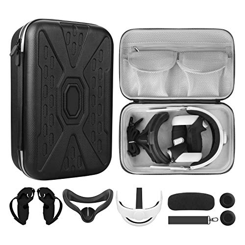MASiKEN All-in-One Accessories for Oculus Quest 2, Head Strap Deluxe 6 Kits Bundle,Face Pad,Controllers Cover,Carrying Case Fit Battery Pack, Oculus - Quest 2 Waterproof Travel Case Set (Black)