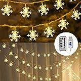 Remifa Led Lichterkette Schneeflocken Warmweiß 10M mit Fernbedienung und Timer Wasserdicht Lichterketten 8 Modi USB für Innen und Außen Zimmer Garten Weihnachten Dekoration Partylichterkette