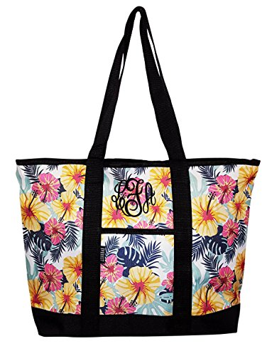 Everest Fashion Flower Print Shopping Tote -Personalization Available (Monogram Floral)
