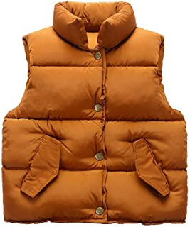 Achiyi Baby Boys Girls Solid Down Cotton Vest Warm Lightweight Jacket Puffer High Neck Waistcoat Outwear