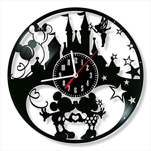 showyow Orologio da Parete in Vinile Orologio da Record Nero, Topolino e Minnie Mouse 30cm Orologio dal Design Moderno, Decorazione da Parete per Camera da Letto, Bambini e Amici