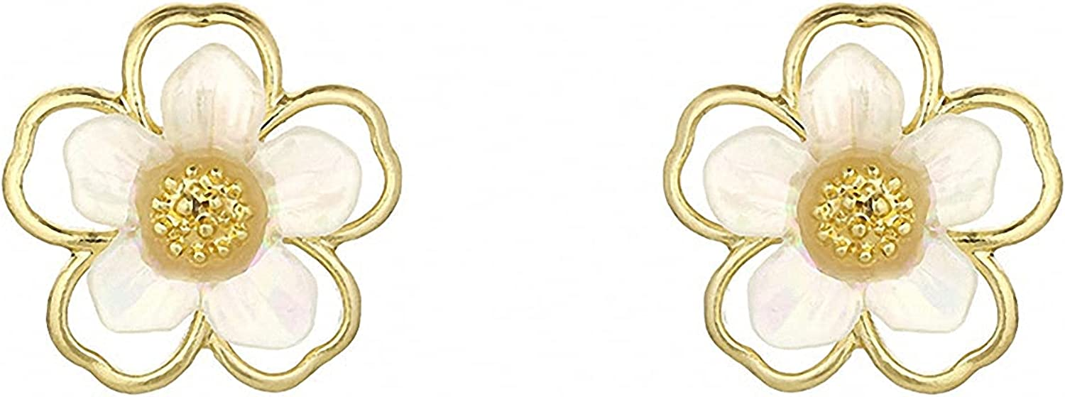 Temperament Shell Flower Clip Earrings Small Gold Color Elegant Hollow Flower Clip On Earrings No Hole for Women