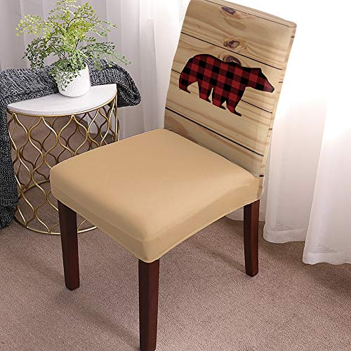 Stretch Chair Cover Dining Room Chair Covers Set of 4 Red Buffalo Check Plaid Bear Print Wood Soft&Washable Kitchen Chair Covers Fitted Chair Seat Protector with Elastic Bottom for Hotel, Office