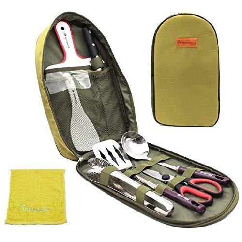 キャンプ 調理器具 便利 グッズ アウトドア BBQ バーベキュー セット 防災 用品 9ピース (グリーン)