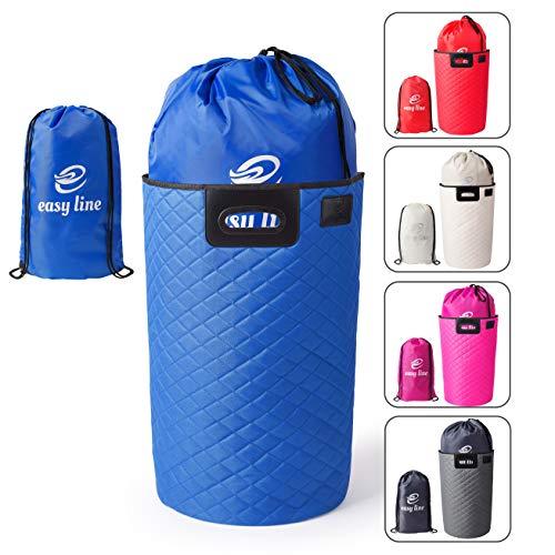 Easy line Faltbarer Wäschekorb (blau) - 60x35x40 - mit praktischem Wäschesack & Transportgriffen - hochwertig, stabil & leicht zu verstauen - ideal zur Aufbewahrung von Wäsche & Kleidung