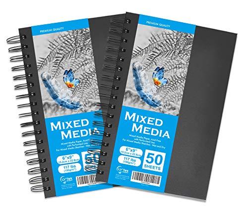 "LYTek Mixed Media Paper,2 Pack 6""x9""Hardcover Sketchbook,117lb/190g Total 100 Sheets Acid-Free Thick Paper,Multimedia Sketchbooks with Spiral Bound,Ideal for Pen,Color Pencil and Light Wash Wet Media"