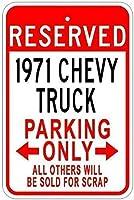 レトロヴィンテージティンサイン1971 71トラックパーキングサイン警告標識金属プライベートプロパティ屋外危険サインティンメタルサインアートヴィンテージプラークキッチンホームバー壁の装飾