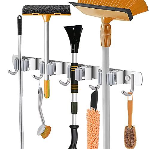 Besenhalterung Wand, Gerätehalter Edelstahl, Besenmopphalter, Wandhalterung, Werkzeugaufhänger, Organizer (4 Halter und 5 Haken)