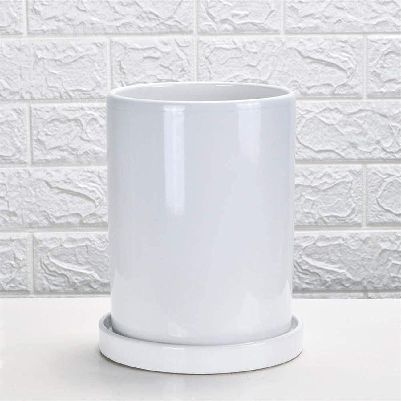 スリラー噛む練習植木鉢 フラワーポットセラミックストレート円筒大きなフラワーポット屋内バルコニーのシンプルモダンなトレイオフィスグリーンフラワーポットフラワートレイ多肉植物?グリーン (Color : White, Size : Large)