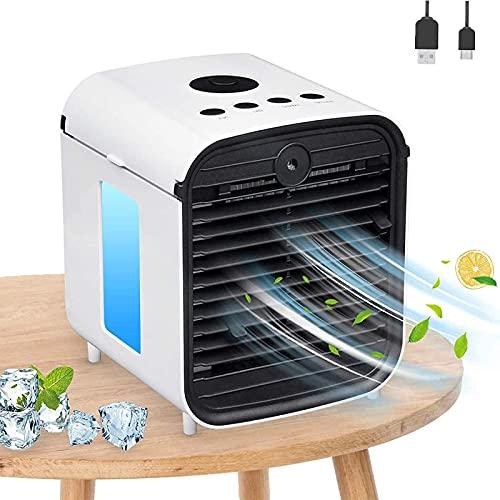 Climatiseur Portable Mgee USB Mobile Refroidisseur D'air 4 in 1 Air Mini Cooler, Humidificateur & Purificateur, 3 Vitesses, pour maison, bureau (Blanc)