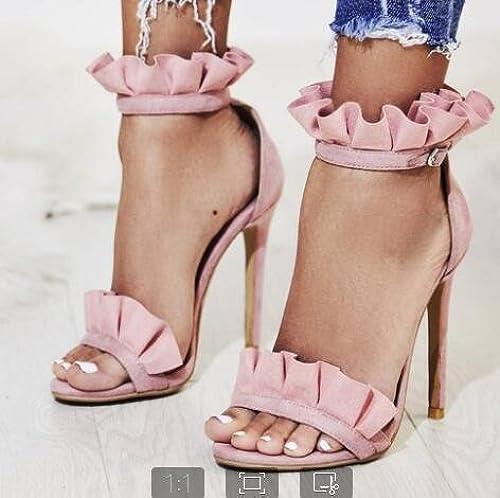 ZHZNVX Nuevas sandalias de tacón alto con punta abierta y volantes de gamuza fina con schuhe de damen