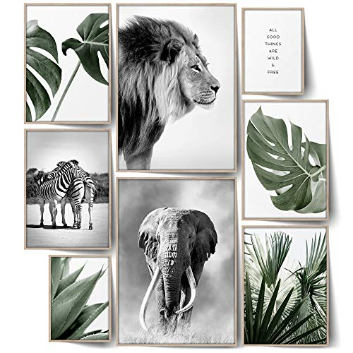 BLCKART Infinity Wild & Free Poster Set Stilvolle Doppelseitige Botanik & Tiere Poster Wohnzimmer Schlafzimmer Büro Deko (L | 2X A3 | 4X A4 | 2X A5 | ohne Rahmen, Wild & Free)