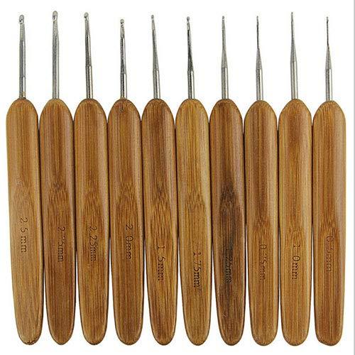 10 peças/conjunto de agulhas de crochê de metal com cabo de bambu GlobalDeal
