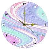 Eslifey Abstracto Acuarela Textura Mármol Turquesa Púrpura Lila Patrón Reloj de Pared Framless Non-Ticking Decoración Reloj de Pared de Acrílico Redondo