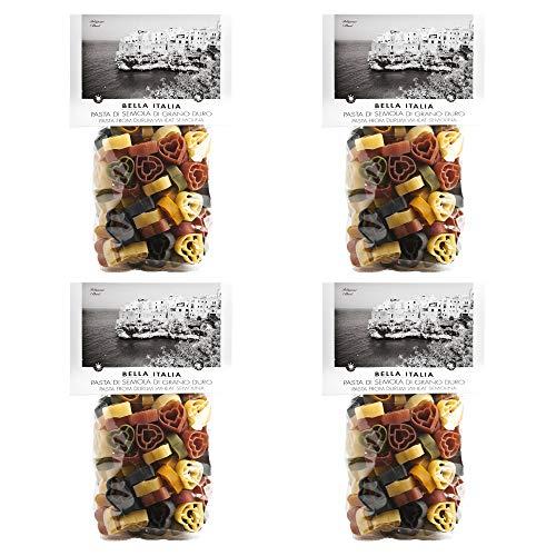 Farbige Herz-Nudeln in sechs Farben aus Hartweizengriess von Antico Pastificio Umbro (1x 250g Beutel)