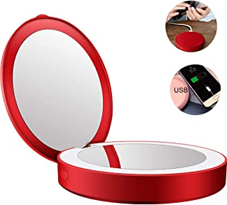3X Magnifying Compact Travel Makeup Mirror with Light, USB Rechargeable Double Side Pockets Mirrors