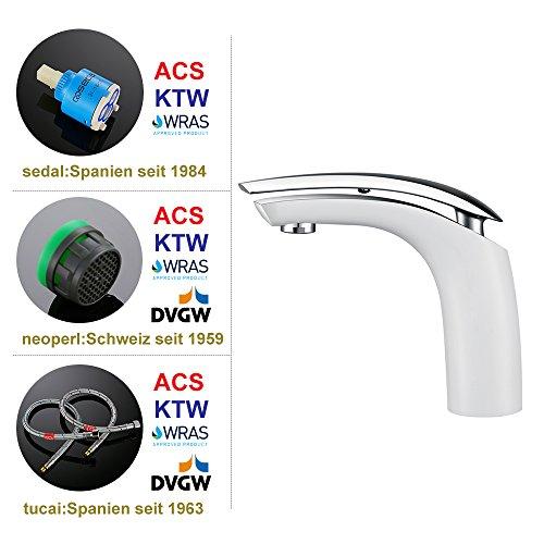 Homelody Weiss Waschtischarmatur für bad Wasserhahn Waschtisch Armatur Waschbeckenarmatur Mischbatterie Waschbecken Einhebelmischer Badarmatur Elegant - 6