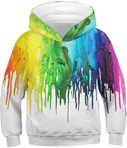 EMILYLE Jungen Sweatshirt Tierdruck Galaxie Kinder Weihnachten Warm Hooded Sweat (M(Tag 125-145cm), Bunt Farbe)