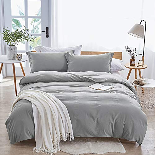 Dreaming Wapiti Duvet Cover Queen,100% Washed Microfiber 3pcs Bedding Duvet Cover Set,Solid Color - Soft and Breathable with Zipper Closure & Corner Ties (Light Gray, Queen)