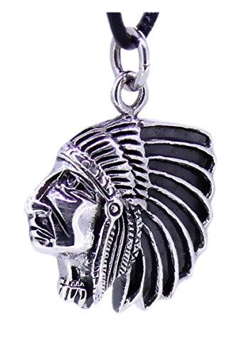 budawi® - Indianer Kopf Anhänger Häuptling aus 925 Silber, Amerikas Ureinwohner