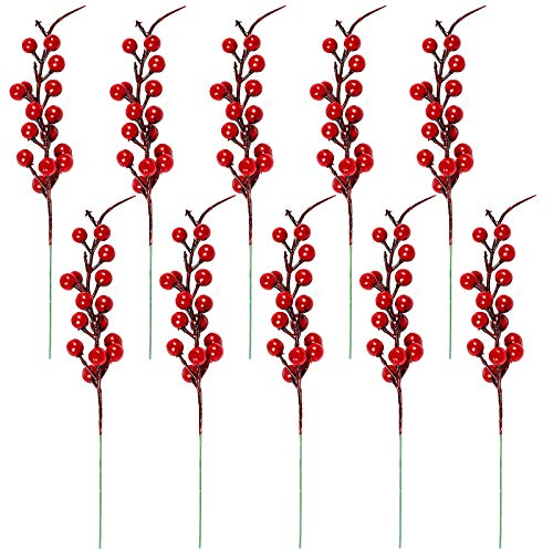 AILANDA 10PCS Artificial Red Berries Stems 10.6Inches Fake Fruit Berry Holly Flower Branch for Christmas Tree Wreath Front Door Home Decor
