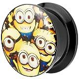 Piersando Ohr Plug Piercing Kunststoff Motiv Comic Picture Flesh Tunnel Ohrplug mit Minions Gelb Schwarz 8mm