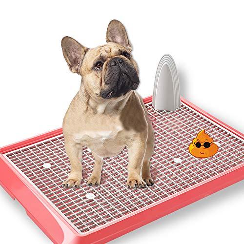 RTVZ Pet Training Toilet, Indoor en Outdoor Puppy Potty Training lade Hoek nest Toilet Pan lade Urinal Training Mat Met Kolom (Wit, Roze)