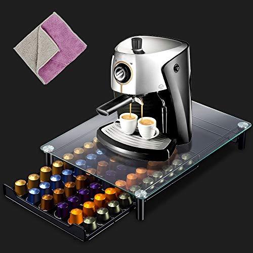 Porta Capsules Caffè Nespresso - Capacità di 60PCS Supporto per Macchina da Caffè con 2Pezzi Panni di Pulizia Contenitore Cassetto per Caspule Nespresso Masthome