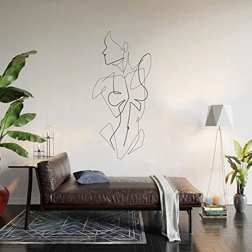XAOQW Moderno Arte Minimalista Pared Desnuda Hembra de una Sola línea de Vinilo Pared de Vinilo Pegatina-No.15 Red_26x57cm