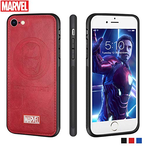 Marvel Avengers iPhone Leather Case Protective Cell Phone Case for Apple iPhone 8 / iPhone 7 Marvel Avengers Comic Super Hero Inspired Series 3D Premium Scratch-Resistant (Iron Man)