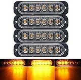 4pcs Emergency Strobe Lights Ultra Thin Universal Car 6 LED Light Bar Orange Breakdown Flashing,for Off Road...