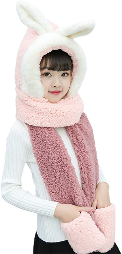 Surkat Girls Kids 3 in 1 Winter Glove Scarf Mitten Knitted Hat with Pockets Hoodies Cap