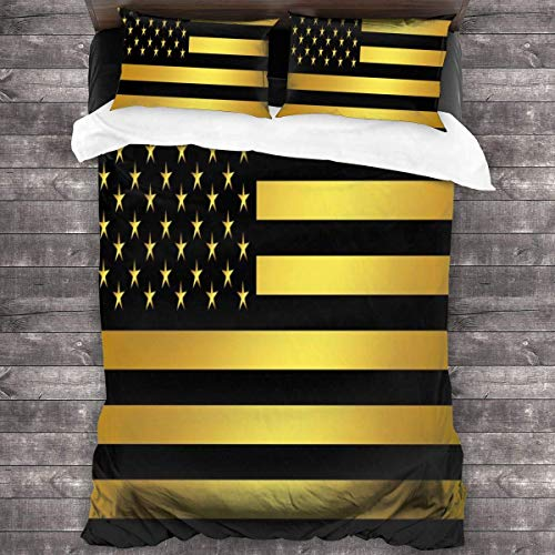 KDRW American Flag Gold and Black Bedspread 3 Piece Quilt Bedding Set Classic Duvet Cover Set Soft Comforter Cover with Zipper Closure Bed Set of 1 Duvet Cover + 2 Pillow Shams