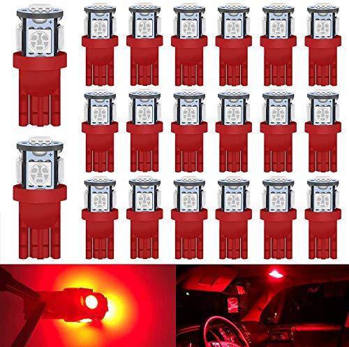 DEFVNSY Confezione da 20 - Lampadina LED rosso brillante 194 T10 168 2825 W5W 501 - Chipset 5050 di quinta generazione 5SMD per luci a cupola con mappa targa automobilistica a 24 V DC