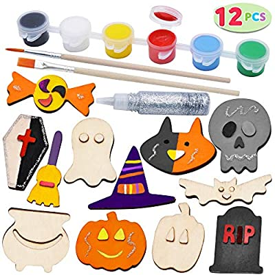 JOYIN 12 Halloween Arts & Crafts Wood Magnet Creativity Painting Kit Decorate Your Own for Kids Paint Gift, Family Games, Trick or Treat Stuffers.