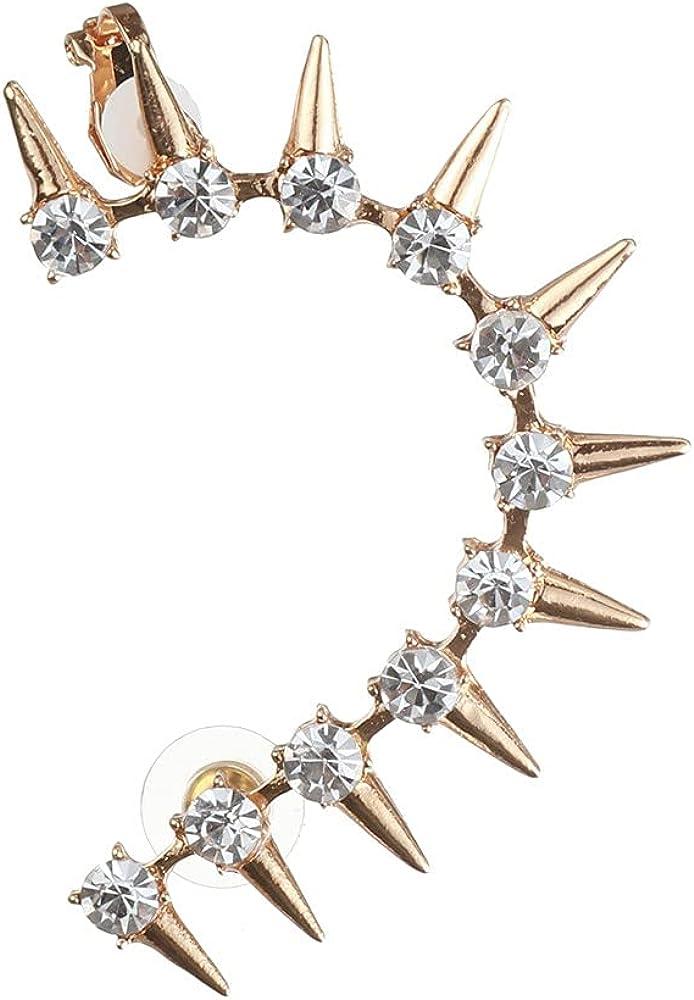 Punk Cool Crystal Rhinestone Ear Cuff Wrap Stud Clip Earrings For Women Girl Trendy Earrings Jewelry