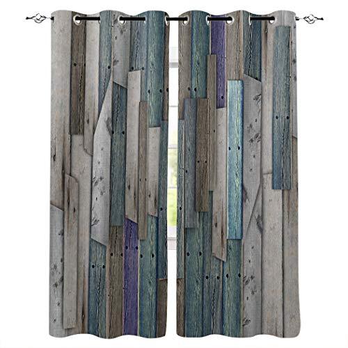 Cortinas opacas con ojales plateados, textura de madera de arte con aislamiento térmico de oscurecimiento para recámara/puerta corredera de cristal gris madera de arte Talla:40x84inx2