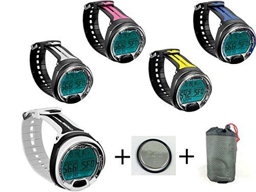 Cressi Tauchcomputer Leonardo UWFUN Set mit Tasche und Ersatzbatterie (Gelb)