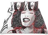 Juego de Funda nórdica Chica afroamericana Cantando con saxofón Diseño de Sonido Popular Juego de Cama Decorativo de 3 Piezas con 2 Fundas de Almohada