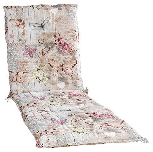 Möbel Jack Liegenauflage Polsterauflage Gartenauflage   Natur   Schmetterlinge   60 x 190 cm   Baumwolle   Polyester
