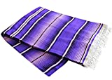Del Mex Mexican Serape Blanket (X-Large, Purple/ Lavender)